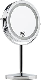 Blesiya LED Makeup Cosmetic Mirror Double-Side Normal And 5x Magnifying Stand Mirror