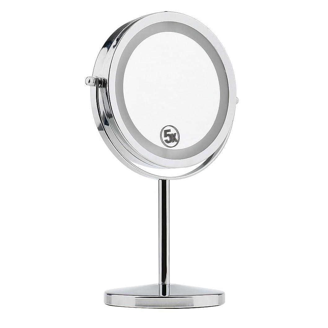 有効化残酷マイクKesoto 両面 ミラー 卓上 化粧鏡 LEDライト付き 5倍拡大鏡 360度回転 高級感