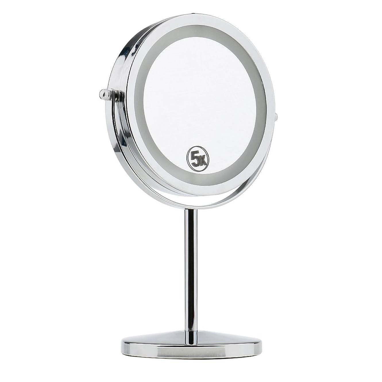 ジョットディボンドン段階上昇Perfeclan 卓上化粧鏡 両面ミラ 5倍拡大鏡 化粧品 メイクアップ 両面化粧鏡 LED点灯 ミラーライト付き