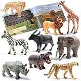 Prextex Realistic Looking Safari Animal Figures - 9 Large Plastic Jungle Animal Toys with Educational Animals Book