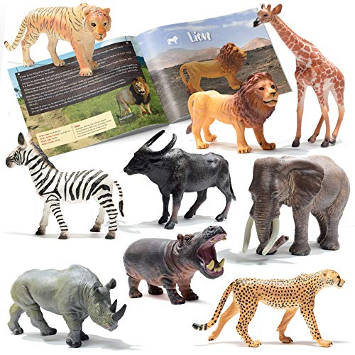 Prextex Realistic Looking Safari Animal Figures - 9 Large Plastic Jungle Animal Toys with Educational Animals Book