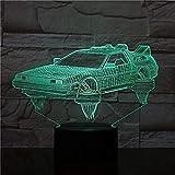 Ritorno al futuro auto Luci 3D Appassionati di film Bellissimi regali Luce notturna Luce notturna a LED a batteria Consegna veloce