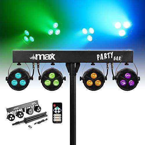 MAX LED Partybar07 RGBW Lichtset op Accu, Inclusief Statief, Geluidsgestuurd mode, Auto Modus, 8 DMX kanalen, Astandsbediening en Voorgeprogrammeerde Lichtshows