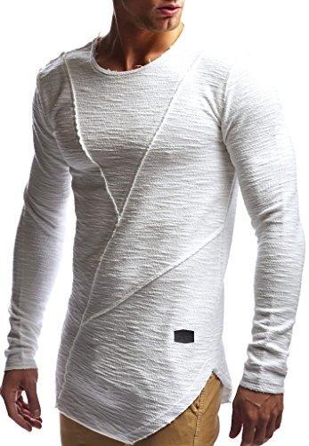 Leif Nelson Herren Pullover Hoodie Kapuzenpullover Sweatjacke Longsleeve Sweatshirt Jacke Basic Rundhals Langarm Oversize Shirt Hoody Sweater LN6323; Größe M; Ecru