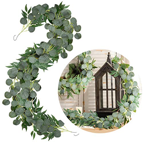 EPLST 6.5 Feet 2 Pack Artificial Eucalyptus Willow Garland Faux Silk Silver Dollar Eucalyptus Willow Twigs Leaves Vines Greenery Handing Plants for Wedding Party Backdrop Arch Wall Home Decor