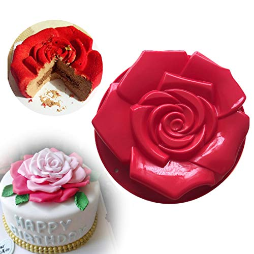 Joyeee 11.8'' Rose Flower Cake Mold Pan, Silicone Baking Mold for Birthday Cake, Muffin, Bread, Pie, Flan, Tart, Mousse, Cheesecake - Non-Stick Baking Trays - Great For Parties, Holidays