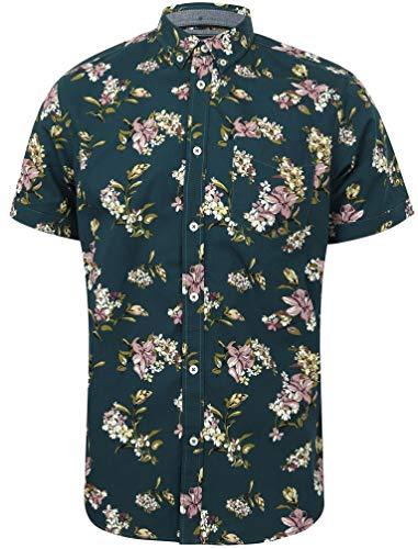 Tokyo Laundry - Camicie Casual - 'Lynwood' - Floreale - con Colletto - Manica Corta - Uomo (Teal Pond) M