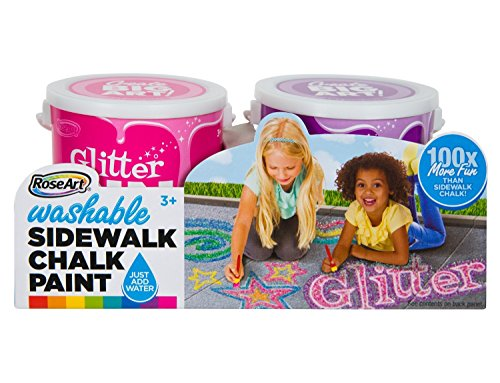 RoseArt Washable Sidewalk Chalk Paint 2ct Glitter ORN/blu
