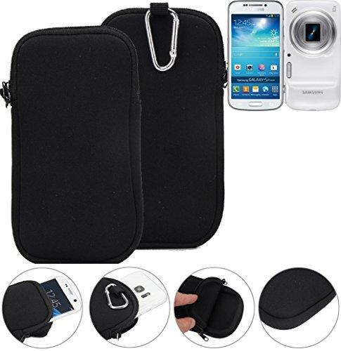 K-S-Trade Neopren Hülle Für Samsung Galaxy S4 Zoom Schutzhülle Neoprenhülle Sleeve Handyhülle Schutz Hülle Handy Gürtel Tasche Hülle Holster Handytasche Schwarz