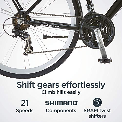 Schwinn Discover Hybrid Bikes for Men and Women, Featuring Aluminum City Frame, 21-Speed Drivetrain, Black and White
