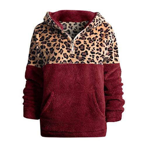 DQANIU Frauen Sweatshirt, Mode Winter Frauen Langarm Leopard Gedruckt Dicke Warme Kapuzenoberteil Beiläufige Taschenbluse Tops