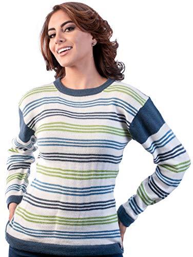 Intialpaca gestreepte Alpaca trui voor dames