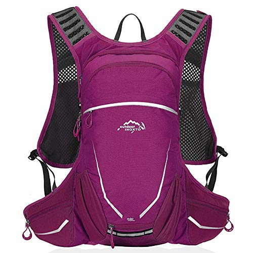 Zaino da Ciclismo Leggero Outdoor High Flow Bite Valve Hydration Zaino Sport Daypack per Corsa, Trekking, Ciclismo 18L Pacchetti di idratazione (Color : Purple, Size : 48 * 30 * 14m)