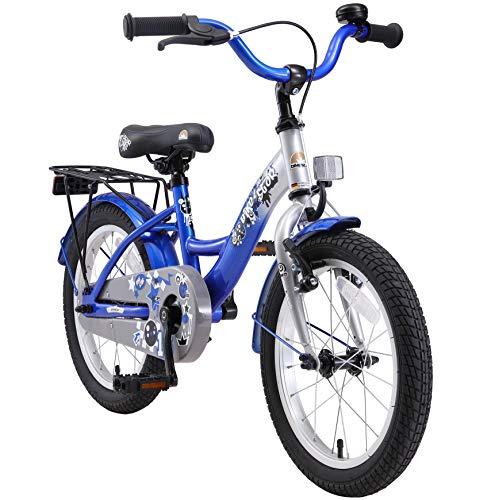 BIKESTAR Kinderfahrrad für Mädchen und Jungen ab 4-5 Jahre | 16 Zoll Kinderrad Classic | Fahrrad für Kinder Silber & Blau | Risikofrei Testen