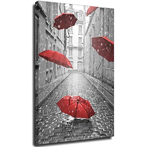 Leinwand-Kunstdruck, Landschaftsblumen-Gemälde, rot-schwarz, Straße, der schwimmende Regenschirm, Heimdekoration, Bild ohne Rahmen, 40 x 60 cm