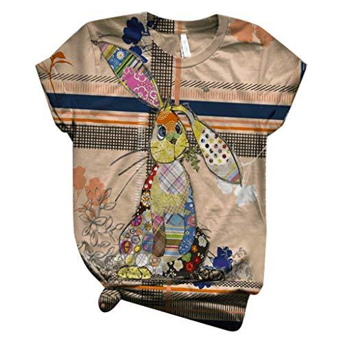 Dicomi Women Short Sleeve T-Shirt Plus Size 3D Animal Printed O-Neck Tee Blouse Tops Khaki