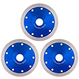 Tanzfrosch 4.5 inch Diamond Saw Blade 4.5' Cutting Disc Wheel for Cutting Porcelain Tiles Granite Marble Ceramics Works with Tile Saw and Angle Grinder (3 Pack, Blue)