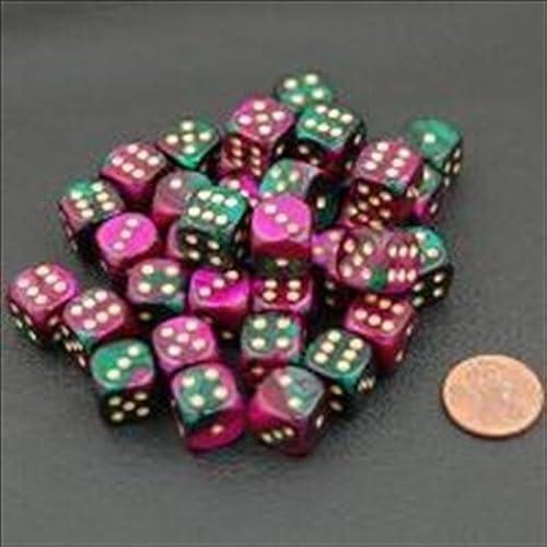 en promociones de estadios Chessex Chessex Chessex Manufacturing 26834 D6 Cube Gemini Set Of 36 Dice, 12 mm - verde & púrpura With oro Numbering by Chessex Manufacturing  edición limitada en caliente