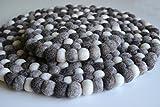 Maharanis Fairtrade Filz Untersetzer Topf Untersetzer kiesel natur hell 22 cm handgefertigt aus reiner Wolle, hitzebeständig - 2