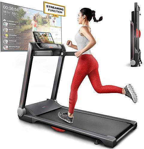 Sportstech FX300 Ultra Tapis de Course -Video Events & Multiplayer APP, Surface de Course géante 51x122cm, 16 km/h, Port de Chargement USB