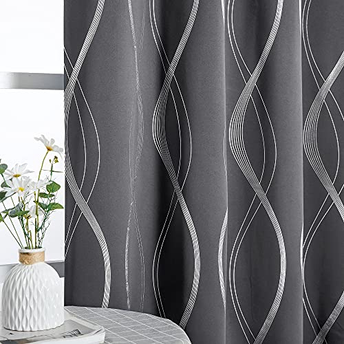 NICETOWN Grey Blackout Curtains Panels for Bedroom - Microfiber Noise Reducing Thermal Insulated Wave Line Foil Print Design Blackout Curtains for Patio Sliding Glass Door (2 Panels, 52 x 84, Gray)