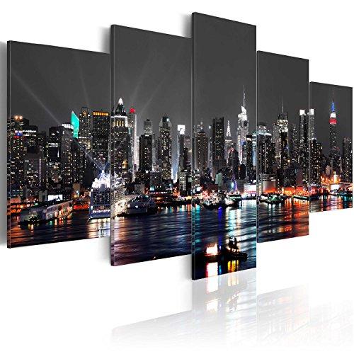 murando Cuadro en Lienzo 200x100 cm New York City Impresión de 5 Piezas Material Tejido no Tejido Impresión Artística Imagen Gráfica Decoracion de Pared - Ciudad Noche Nueva York d-A-0022-b-n
