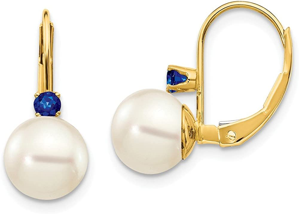 14k Yellow Gold 7 7.5mm White Round Freshwater Cultured Pearl Sapphire Leverback Earrings Lever Back Drop Dangle Birthstone September Fine Jewelry For Women Gifts For Her