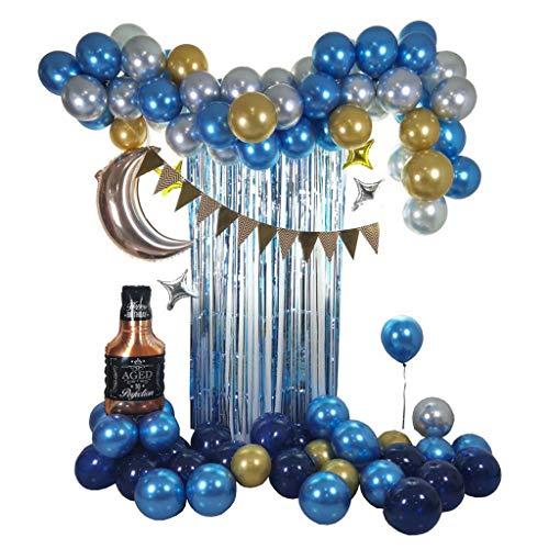 FSJD Kit de Arco de Guirnalda de Globos, Globo de Fiesta de Confeti, Decoraciones de cumpleaños para niñas, niños, Fiesta, Boda, Baby Shower, Azul, 87 Globos