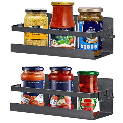 Portaspezie magnetico, 2 pezzi, per frigorifero e spezie, scaffale magnetico con 4 ganci mobili (nero)