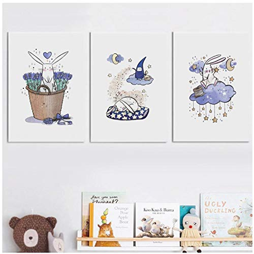 Kldfig-Poster Nordic bedrukt haas Alpacka luier baby maan ster muur kunst foto foto op doek kinderen slaapkamer decoratie thuis 20 x 30 cm x 3 zonder lijst
