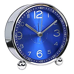 chengsan Alarm Clock,4 inch Round Table Clock, Non-Ticking Silent Metal Small Clock ,Classic Retro Style Quartz Clock, Battery Alarm Clock,Desk Cupboard Bedside Travel Bathroom Alarm Clock(Blue