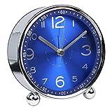 10,2cm Ultra Silencieux en métal classique Petit Réveil, horloge à quartz de style rétro,...