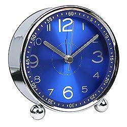 chengsan Alarm Clock,4 inch Round Table Clock, Non-Ticking Silent Metal Small Clock ,Classic Retro Style Quartz Clock, Battery Alarm Clock,Desk Cupboard Bedside Travel Bathroom Alarm Clock(Blue