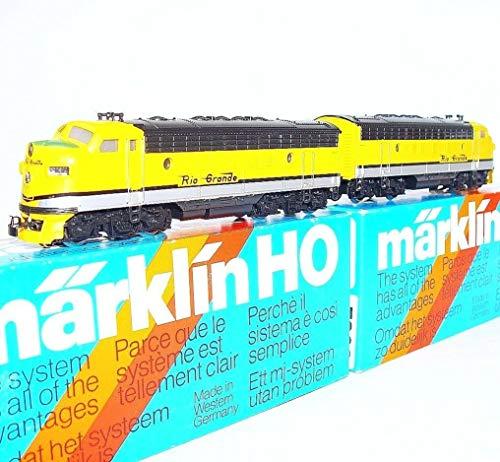 MARKLIN HO Vintage All Heavy Metal USA EMD F-7 Rio Grande Locomotive+Dummy 3062+4062