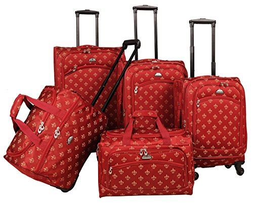 American Flyer Fleur De Lis 5-Piece Spinner Luggage Set, Red, One Size