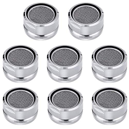 Bathroom Faucet Aerator Replacement Parts 8 PCS with Brass Shell, 2.2 GPM Flow Retrictor Insert Faucet Tap, 15/16-Inch or 24mm Male Threads, Awesome Nozzle, Sprays Is Very Well, Chrome