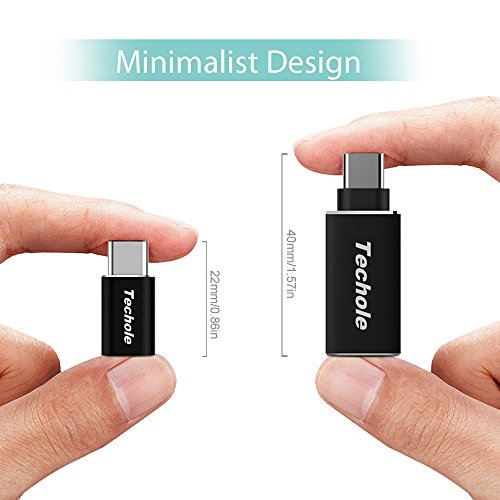 Typ-C USB Adapter Techole USB C Adapter auf Micro USB ×2 USB C Adapter auf USB 3.1 A ×1, Aluminium OTG Konverter 56K Widerstand für Samsung Galaxy S9 S8 Note 8 A5 A3 Nexus 5X 6 usw