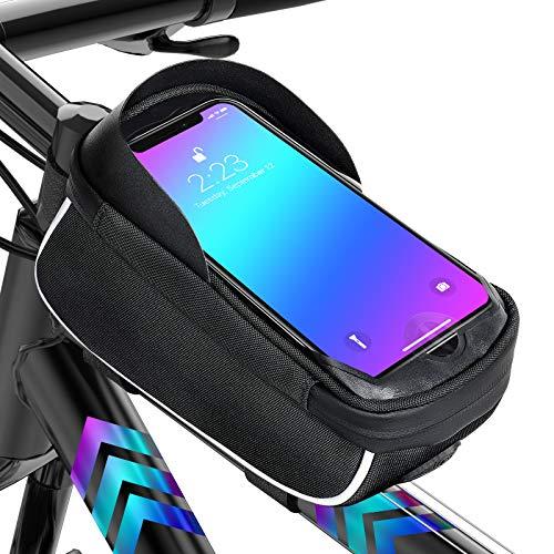 LC-dolida Fahrrad Rahmentaschen Wasserdicht Farhrradlenkertasche Oberrohrtasche Handytasche Handyhalterung Handyhalter mit Fingerabdrucksensor/Sonnenblende/Regenschutz für Handy GPS Navi bis 6,5 Zoll