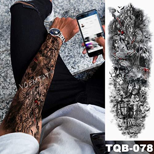 Tatuaje impermeable con alas de ángel y mangas de brazo grande