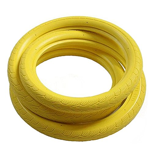 SENQI Fixed Gear Bicycle Solid Tires Road Bike Tires 700c x 23 (Yellow)