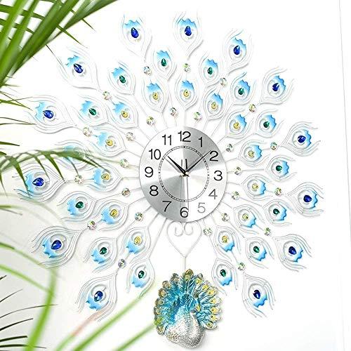 BAIDOLL Relojes de Pared Reloj de Pared de Pavo Real Design Metal Wall Art Silent Cuarzo Reloj de la Sala de Estar Dormitorio Detalle Decorativo, Azul, 65cm Cocina y hogar