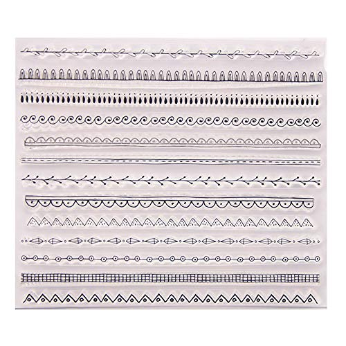 Different Types Lines Waves Plaid Leaves Lines Borders Stamps Rubber Clear Stamp/Seal Scrapbook/Photo Album Decorative Card Making Clear Stamps