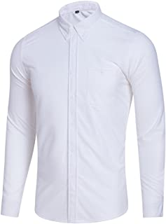 FUOE Mens Casual Solid Slim Fit Dress Shirt Long Sleeve Button Down Shirts with Pocket