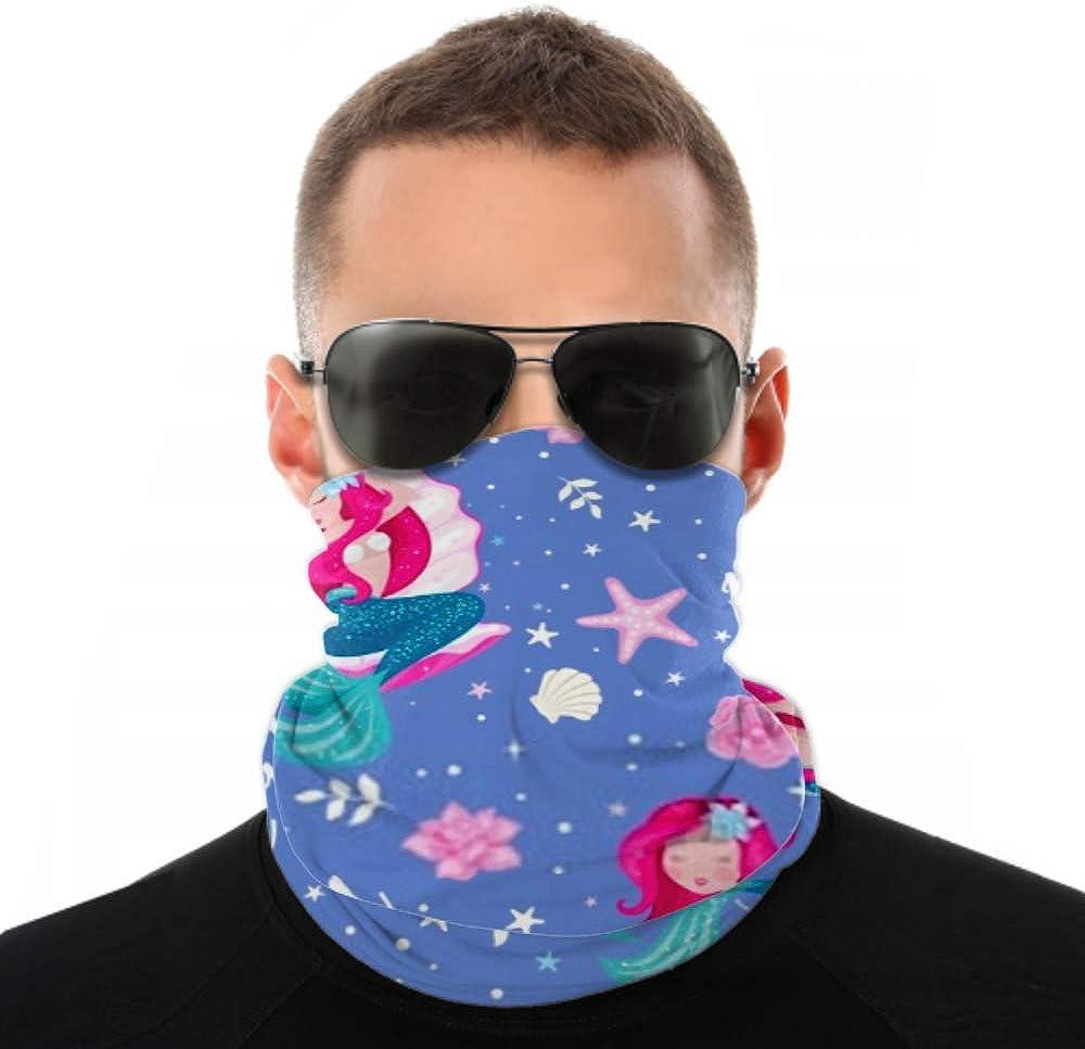 Headbands For Men Women Neck Gaiter, Face Mask, Headband, Scarf Beautiful Lavender Mermaid Pattern Girl Print Turban Multi Scarf Double Sided Print Head Wrap For Sport Outdoor