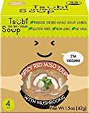 Tsubi Miso Soup FREEZE DRIED, VEGAN INSTANT SOUP, LOW CARB NON-GMO GLUTEN FREE NO MSG, 6 oz Servings (Spicy Red Miso w/Japanese Mushroom, 4 Pack (Box))