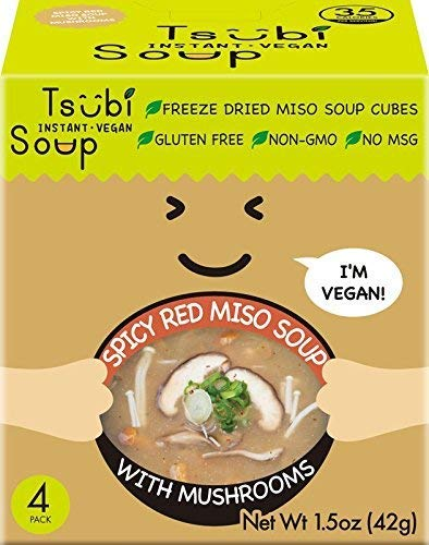 Vegan Miso Soup, LOW CARB NON-GMO GLUTEN FREE, 6 oz Servings, (Spicy Red Miso w/Japanese Mushrooms & Green Onions, Pack of 4)