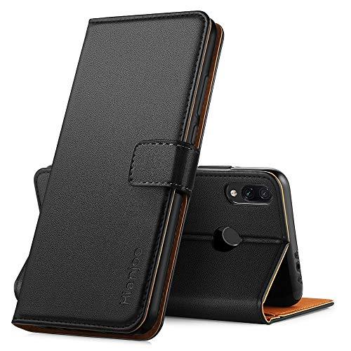 Hianjoo Hülle Kompatibel für Xiaomi Redmi 7, Handyhülle Tasche Premium Leder Flip Wallet Hülle Kompatibel für Xiaomi Redmi 7 [Standfunktion/Kartenfächern/Magnetic Closure Snap], Schwarz