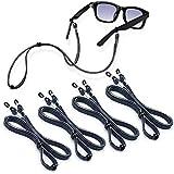 Premium Eyeglasses Strap, Ftojos 4 PCS Eye Glasses String Holder Chains for Men and Women, Adjustable Sunglasses Strap Neck Retainer, Elastic Eyeglass Cord with 8 Lanyard Clips Hooks