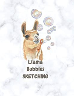 "Llama Bubbles Sketching: Fun Animal Sketchbook, 120 Blank White Pages, Handy Larger Size (8.5""x11""), High Quality matte co..."