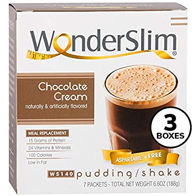 WonderSlim Aspartame Free Meal Replacement Diet/Weight Loss Protein Shake & Pudding Mix